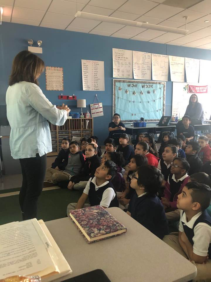 Allison speaking to a group of 3rd graders in Chicago