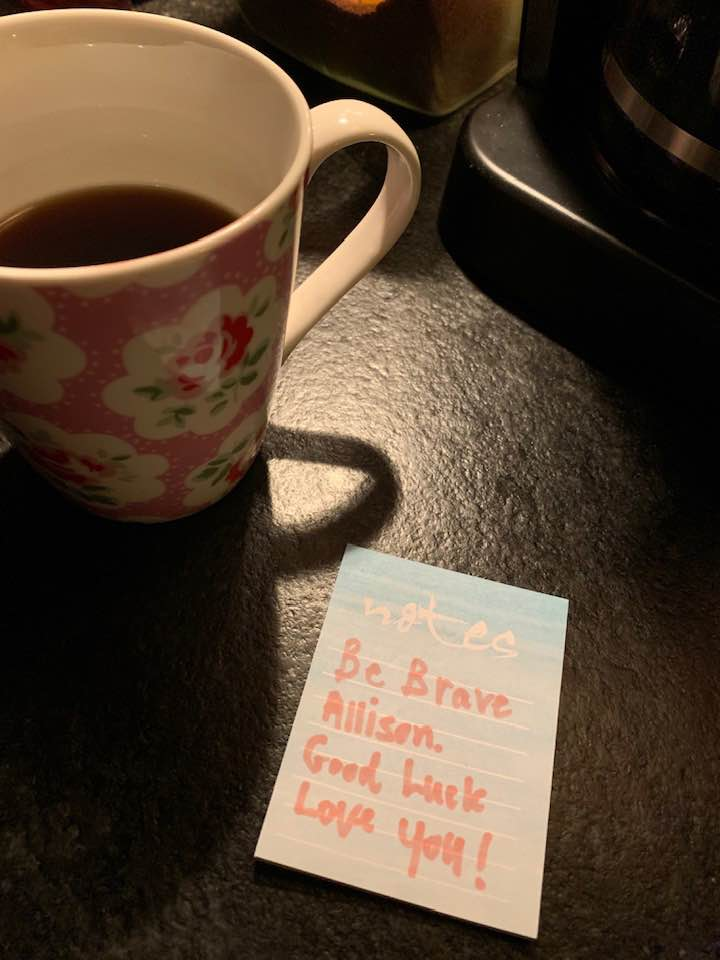 Left beside the coffee pot the morning of my school presentation…