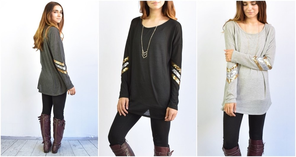 Chevron Sleeve Knit Tunic, on sale for $19.99