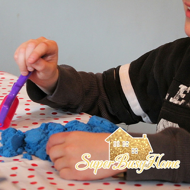 Kinetic Sand Fun.  Super Busy at Home.  #autism #homeschool #kidsactivities