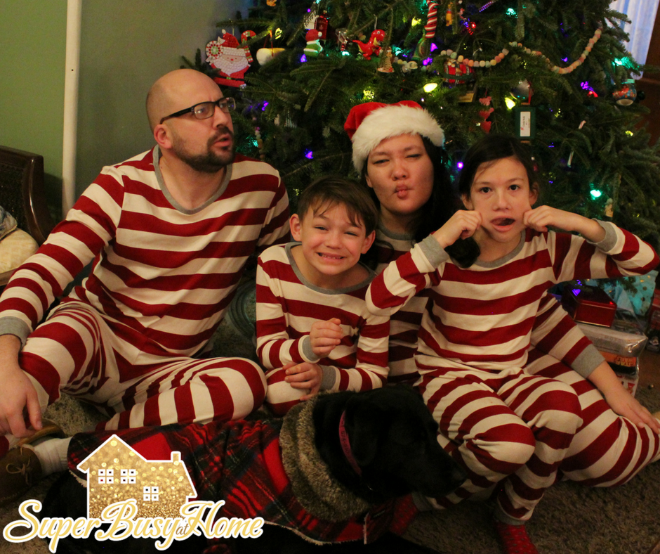 Celebrating Christmas in matching pjs with Super Busy at Home's Family!