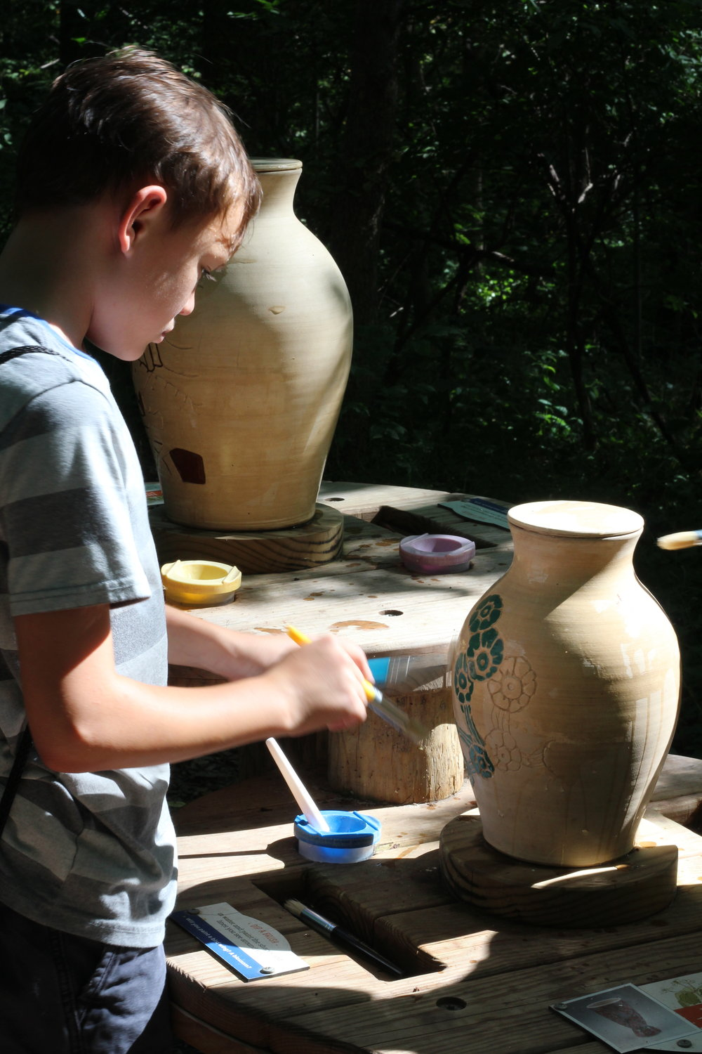 Painting Pottery at the Treetop Outpost Conner Prairie