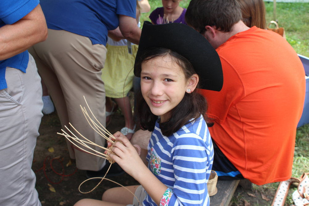 You can make little baskets at Conner Prairie, Fishers Indaian