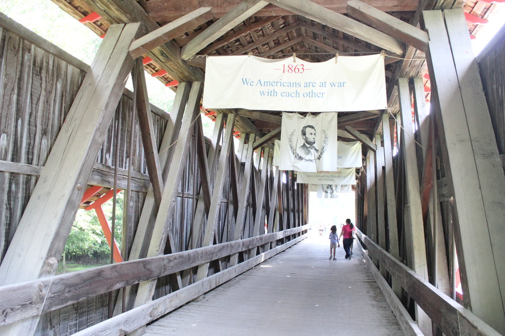 Have you ever been in a covered bridge.  Here's your chance at Conner Prairie, Fishers Indiana