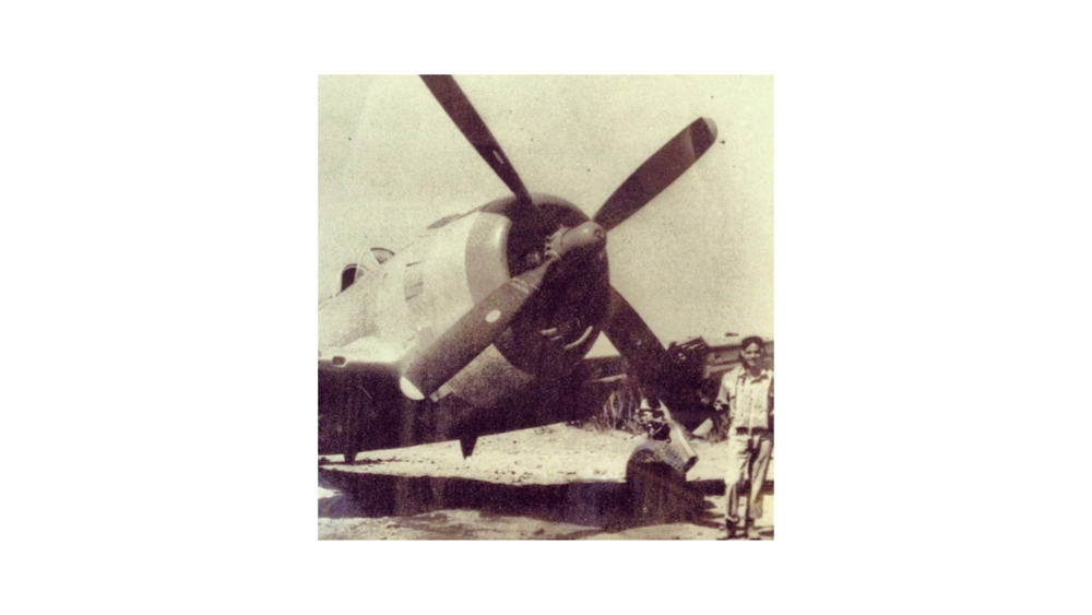 Our Principal, Rachael Glaws', Grandfather, John Peter Glaws II – a fighter pilot in WW II – and recipient of the Distinguished Flying Cross, alongside one of his planes on mission in Europe.