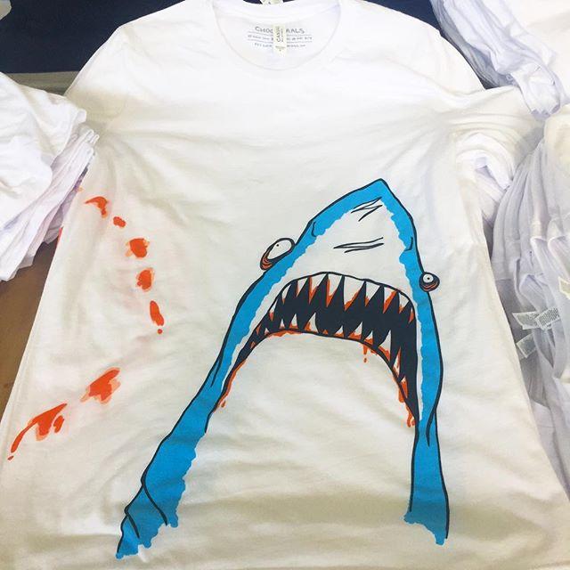 Shark Attack!!! @choonimals on @vanswarpedtour all summer.  #choonimals #warpedtour #vanswarpedtour #shark #tour #tourprint #animal #screenprintubg #silkscreen #press