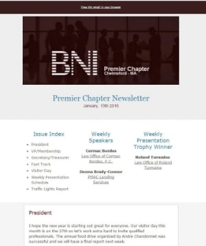 BNI Premier Chapter  - Chelmsford - MA Weekly Newsletter