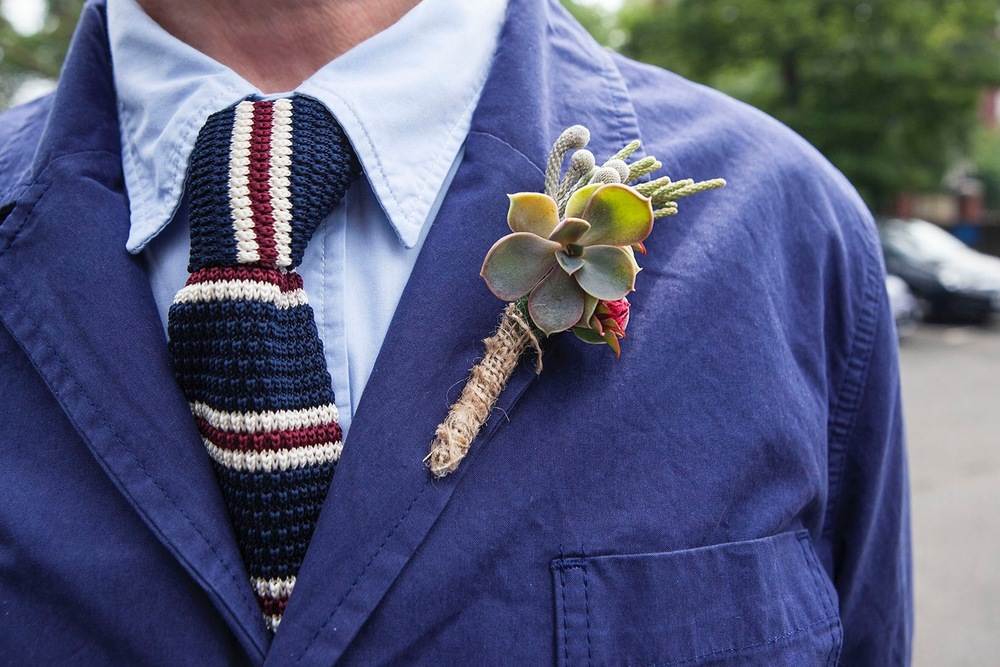 Nick's buttonhole made from succulents and South African foliage