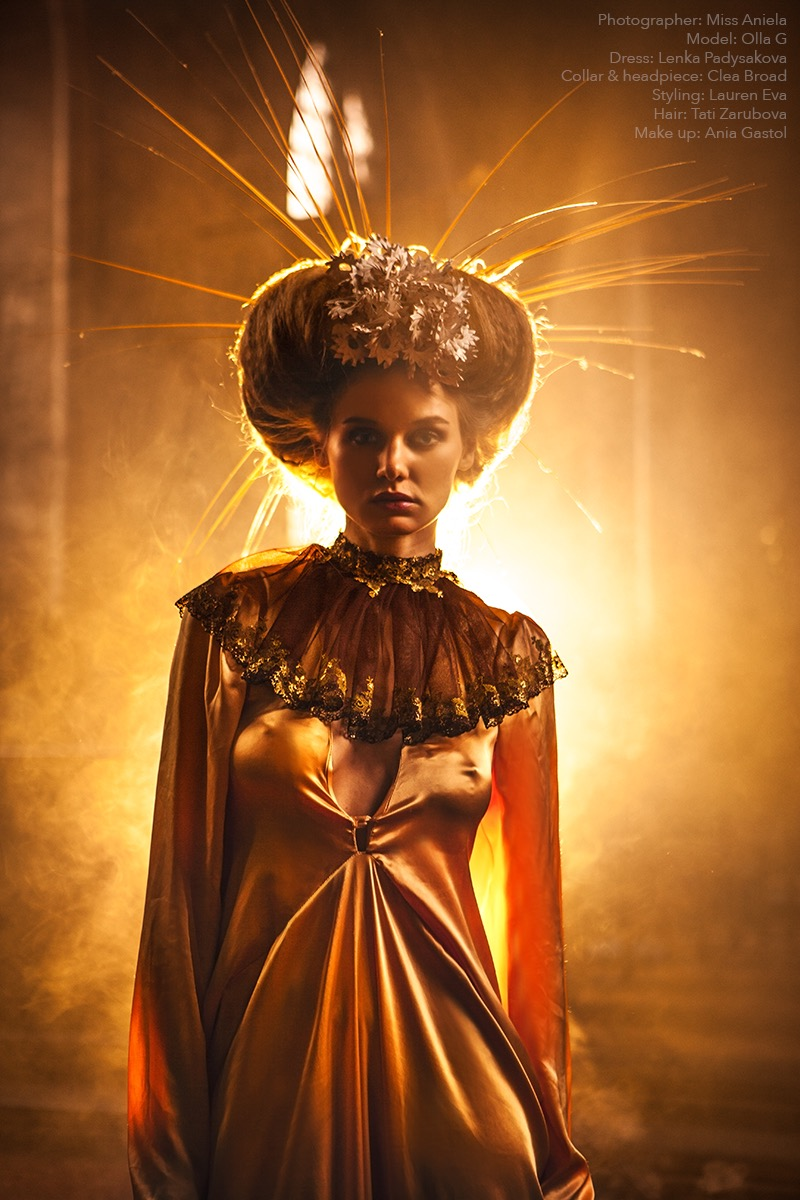 Spiral headpiece & lace collar. Photography - Miss Aniela / Styling - Minna Attala