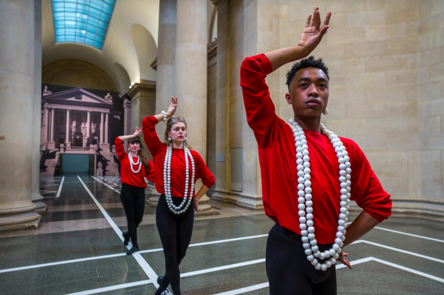 Living art: Pablo Bronstein's trio of dancers take part in his Tate Britain installation Alex Lentati, taken from Evening Standard online review.