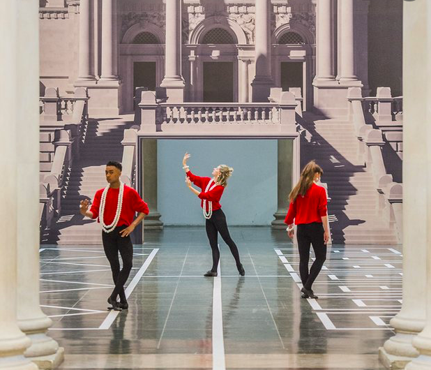 Pablo Bronstein's Historical Dances in an Antique Setting at Tate Britain, London. Photographs: Guy Bell/Rex/Shutterstock , taken from The Guradian online review.