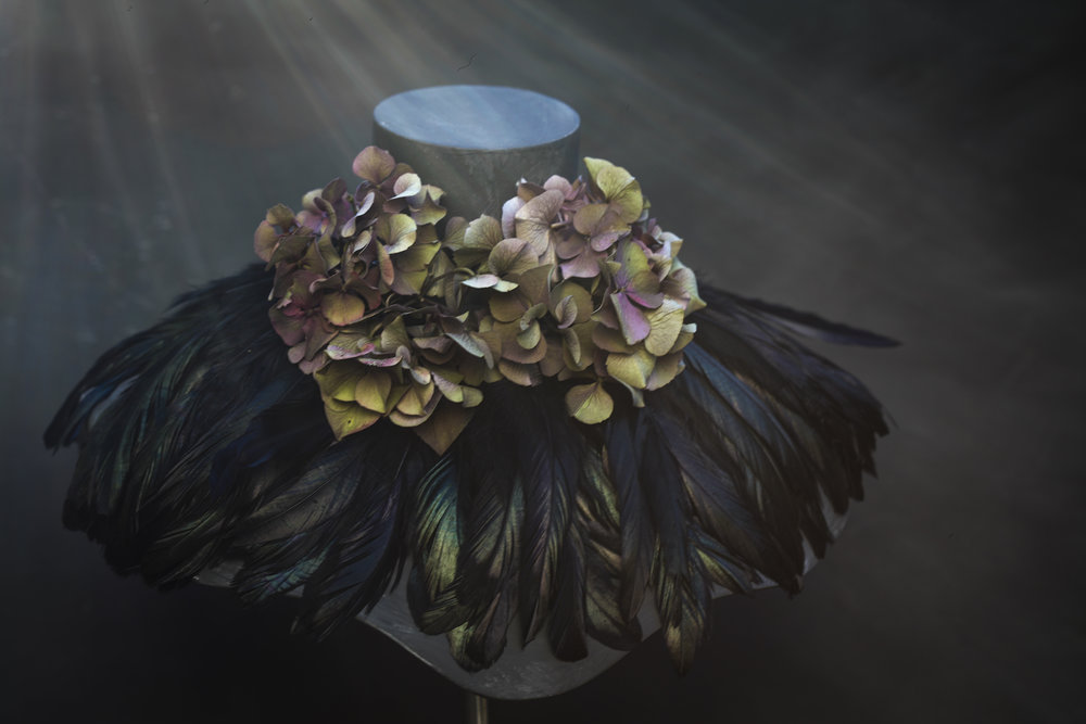 MJ feather/hydrangea collar 1