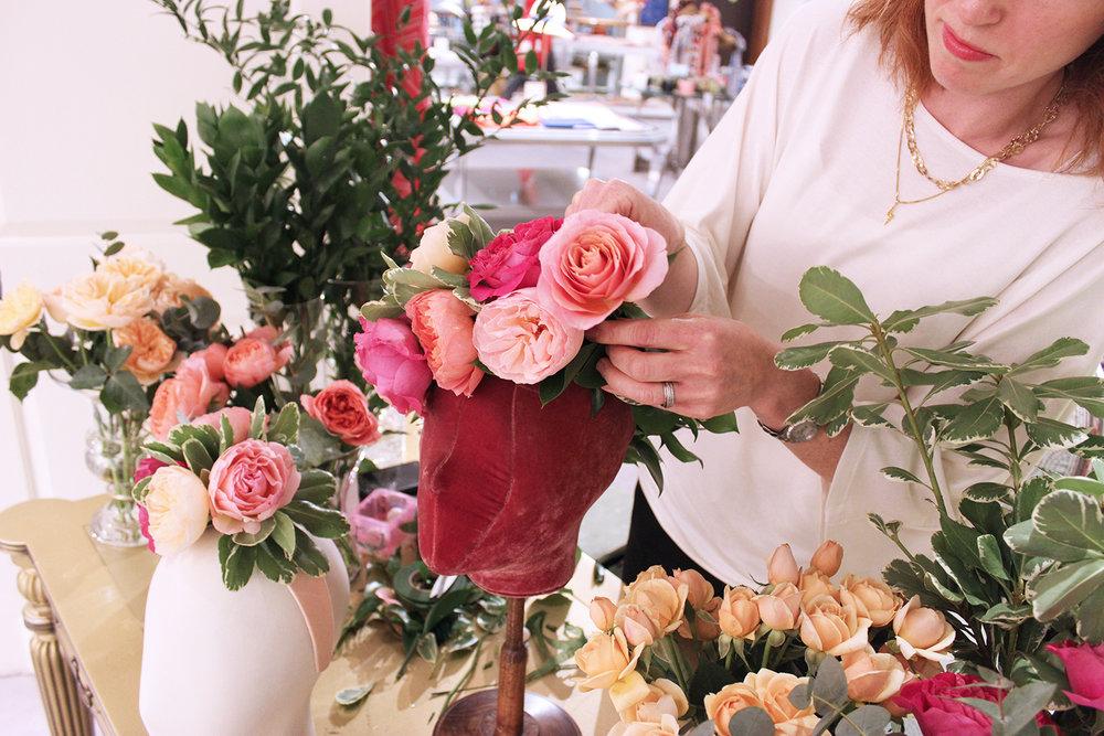 Live floristry display at Fortnum & Mason