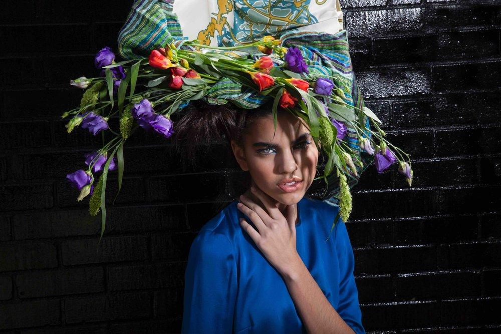 Silk headpiece with lisianthus, freesia & wild grass