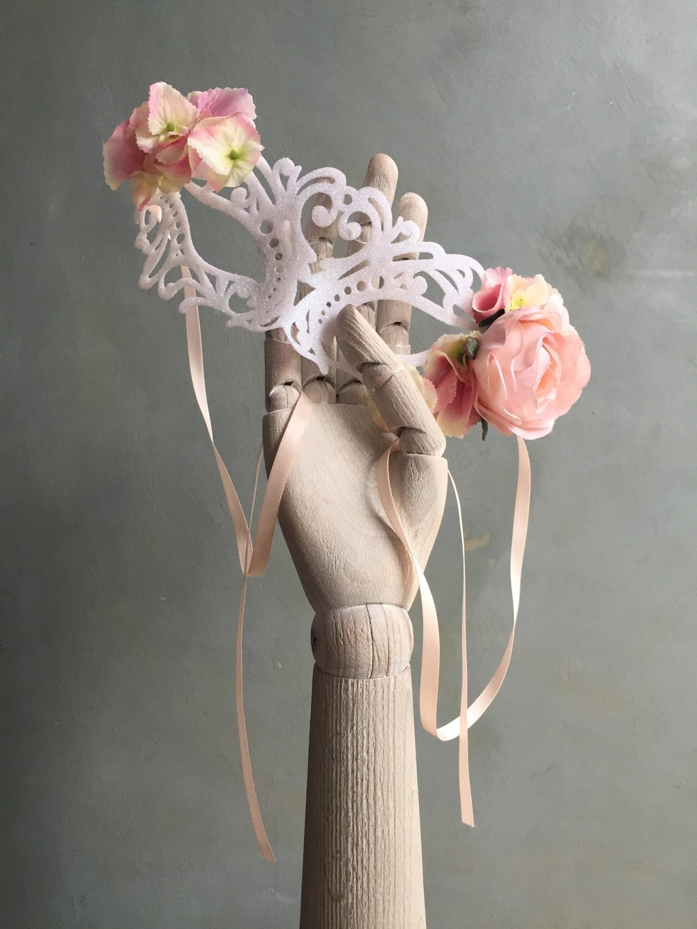 Mask with pink flowers