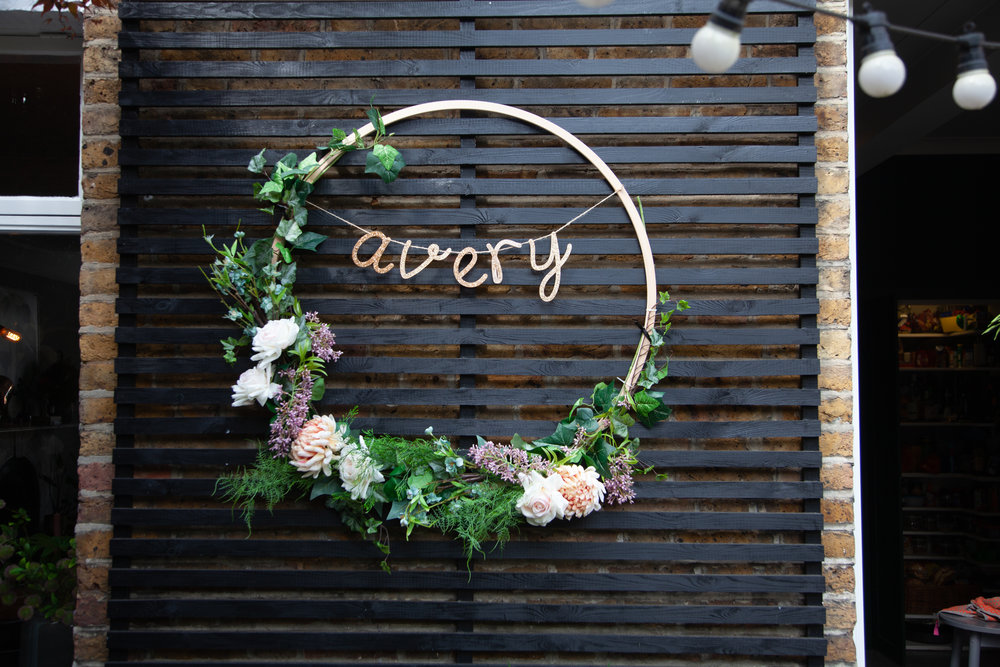 A wreath with the baby's name