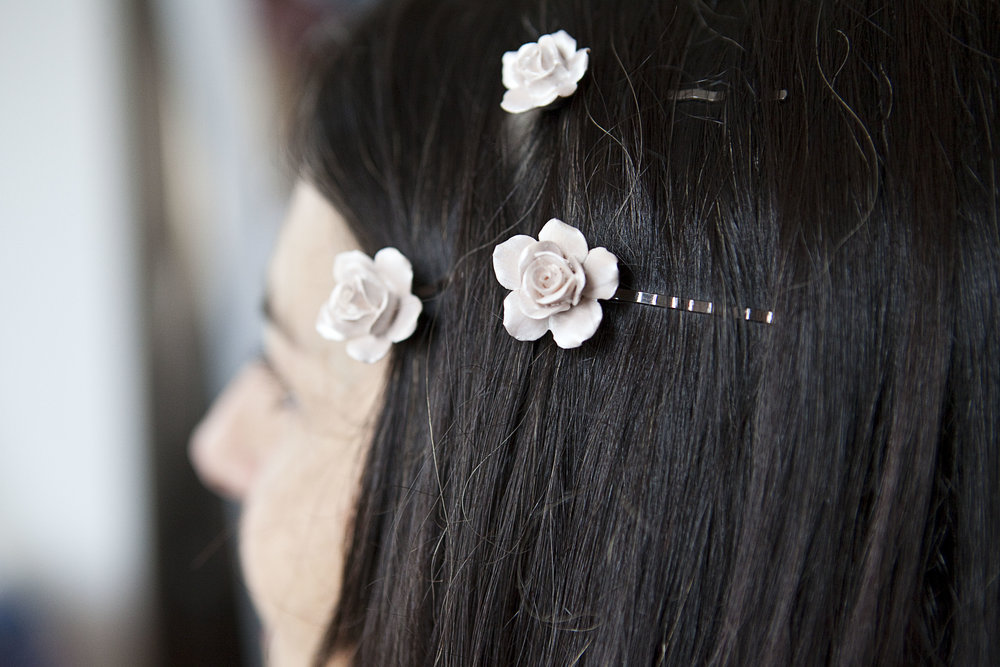 Porcelain hair slides