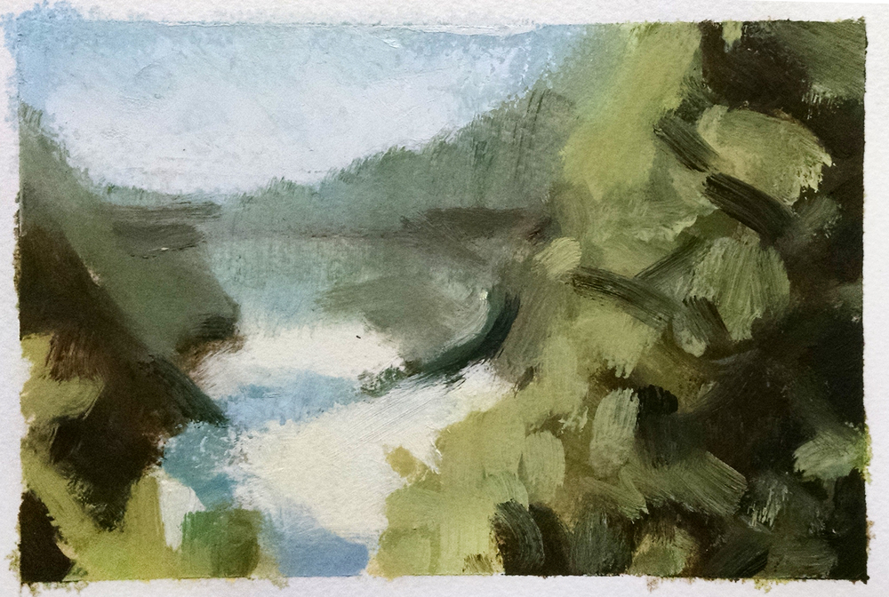Yuba River , 4 x 6 in.  Oil on paper. Available for purchase. (2015)