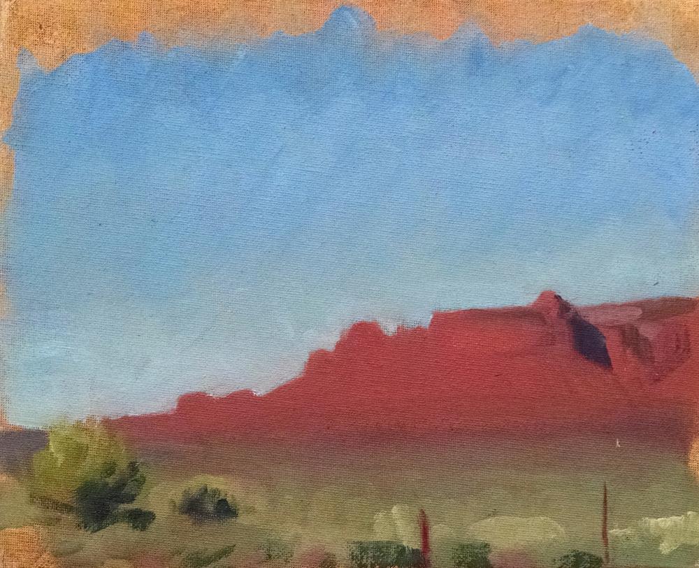 Lukachukai II, Arizona , 8 x 10 in.  Oil on canvas. Available for purchase. (2016)