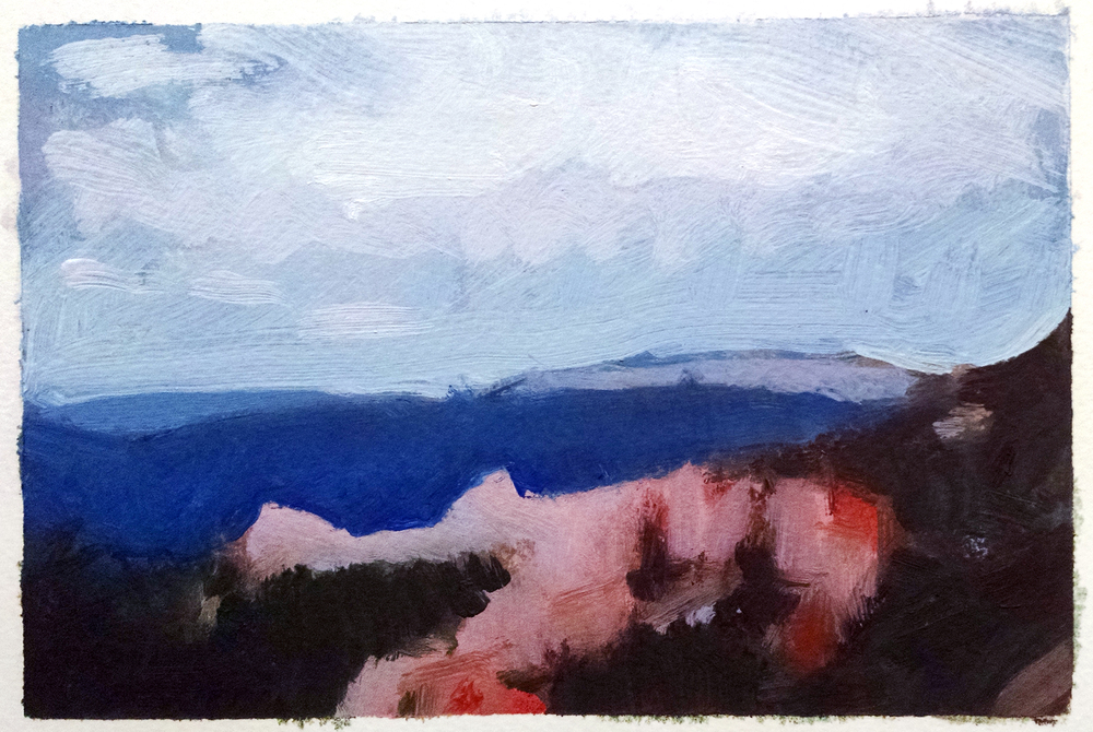 Bryce Canyon, Utah , 4 x 6 in.  Oil on paper. Available for purchase. (2015)