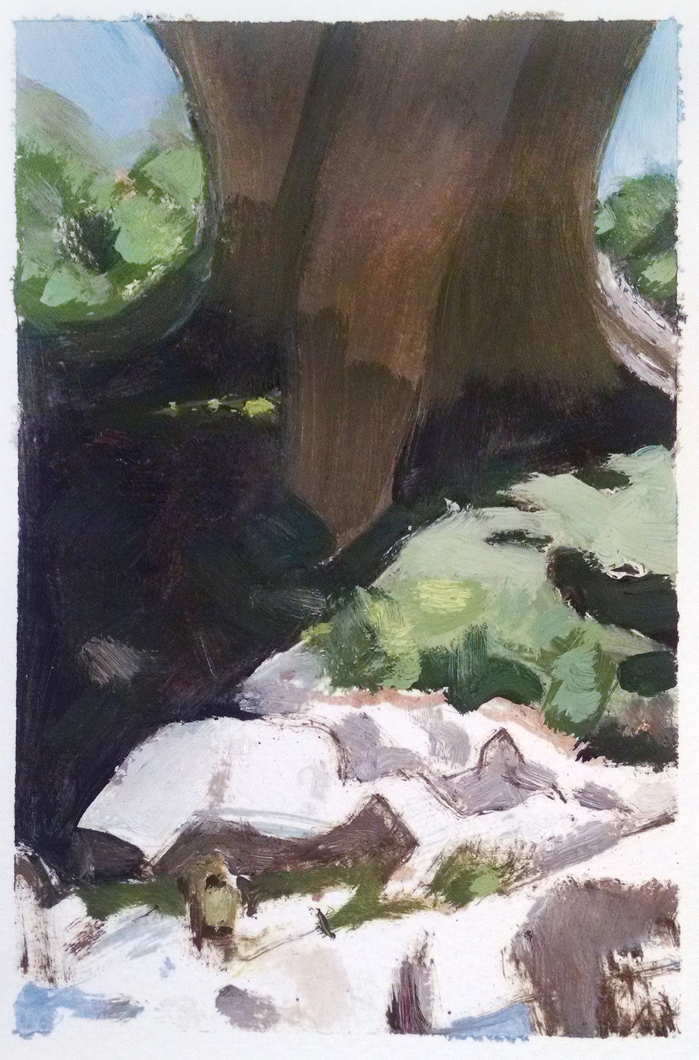 Karla at the Yuba River,  6 x 4 in.  Oil on paper. Available for purchase. (2015)