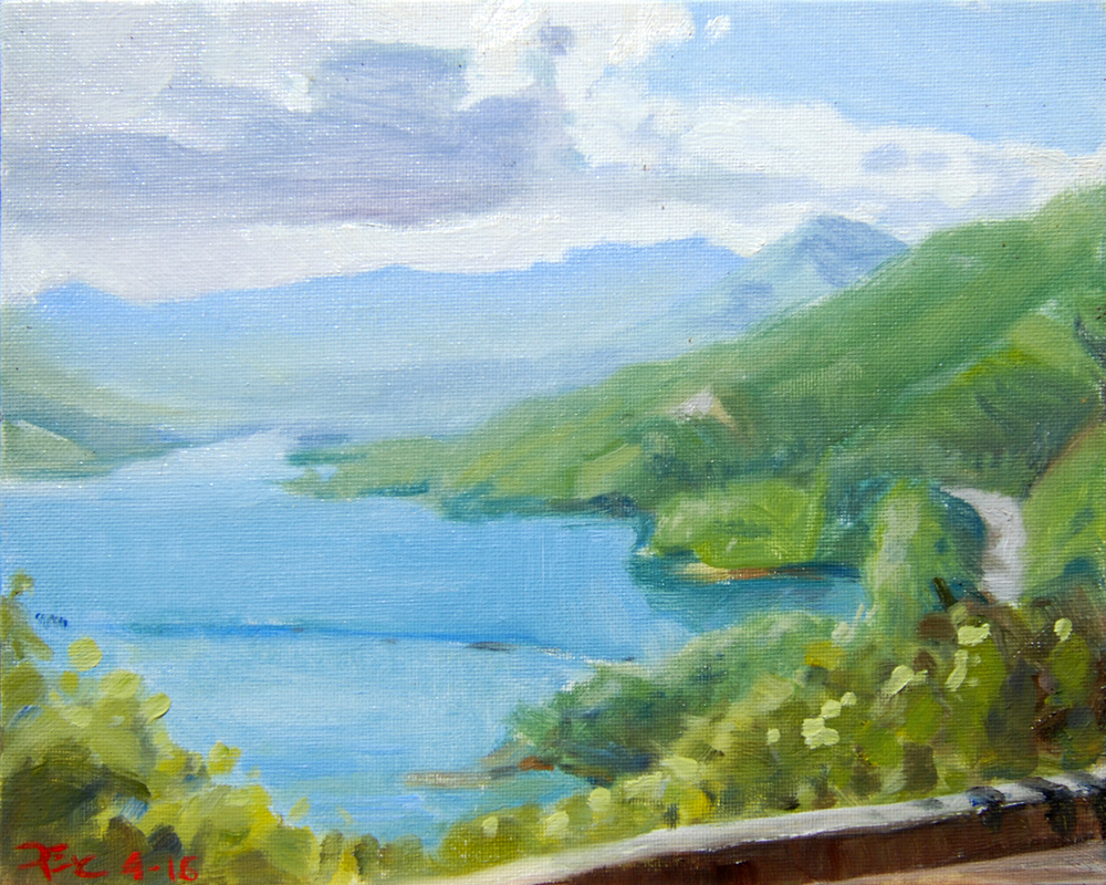 Whiskeytown Lake Rainstorm , 8 x 10 in.  Oil on canvas. Private collection. (2016)