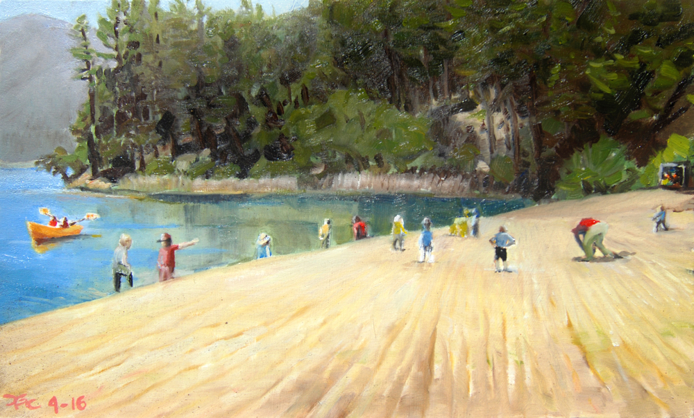Schoolchildren at Brandy Creek Beach , 10 x 16 in.  Oil on panel. In the collection of the National Park Service. (2016)