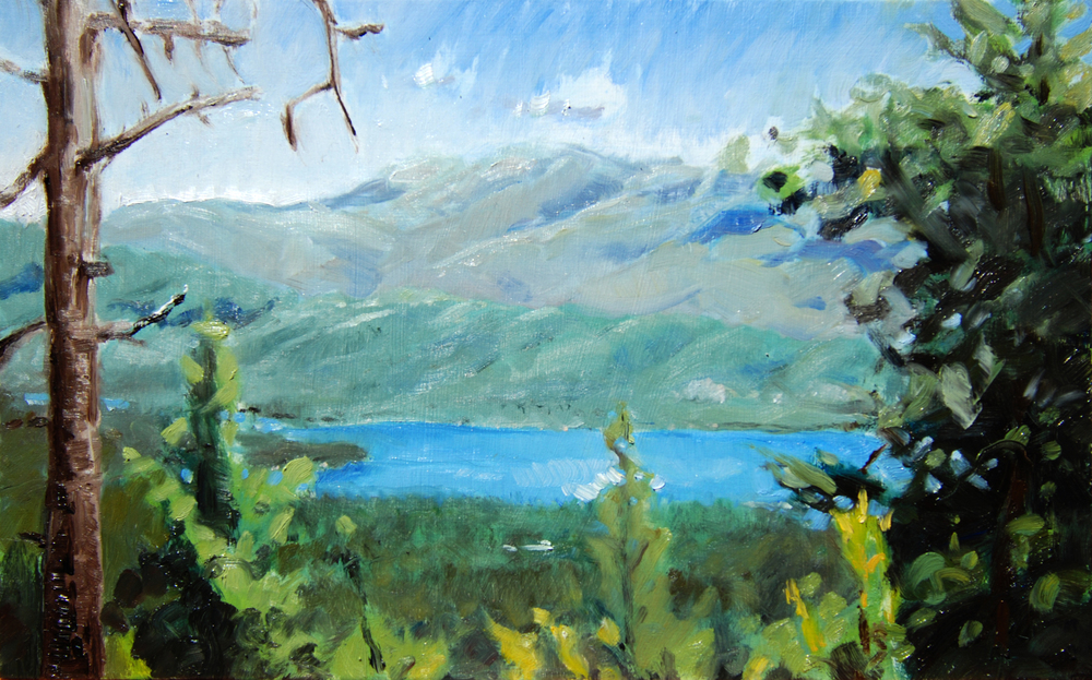 Whiskeytown Lake from Peltier Road,  10 x 16 in.  Oil on panel. Private collection. (2016)