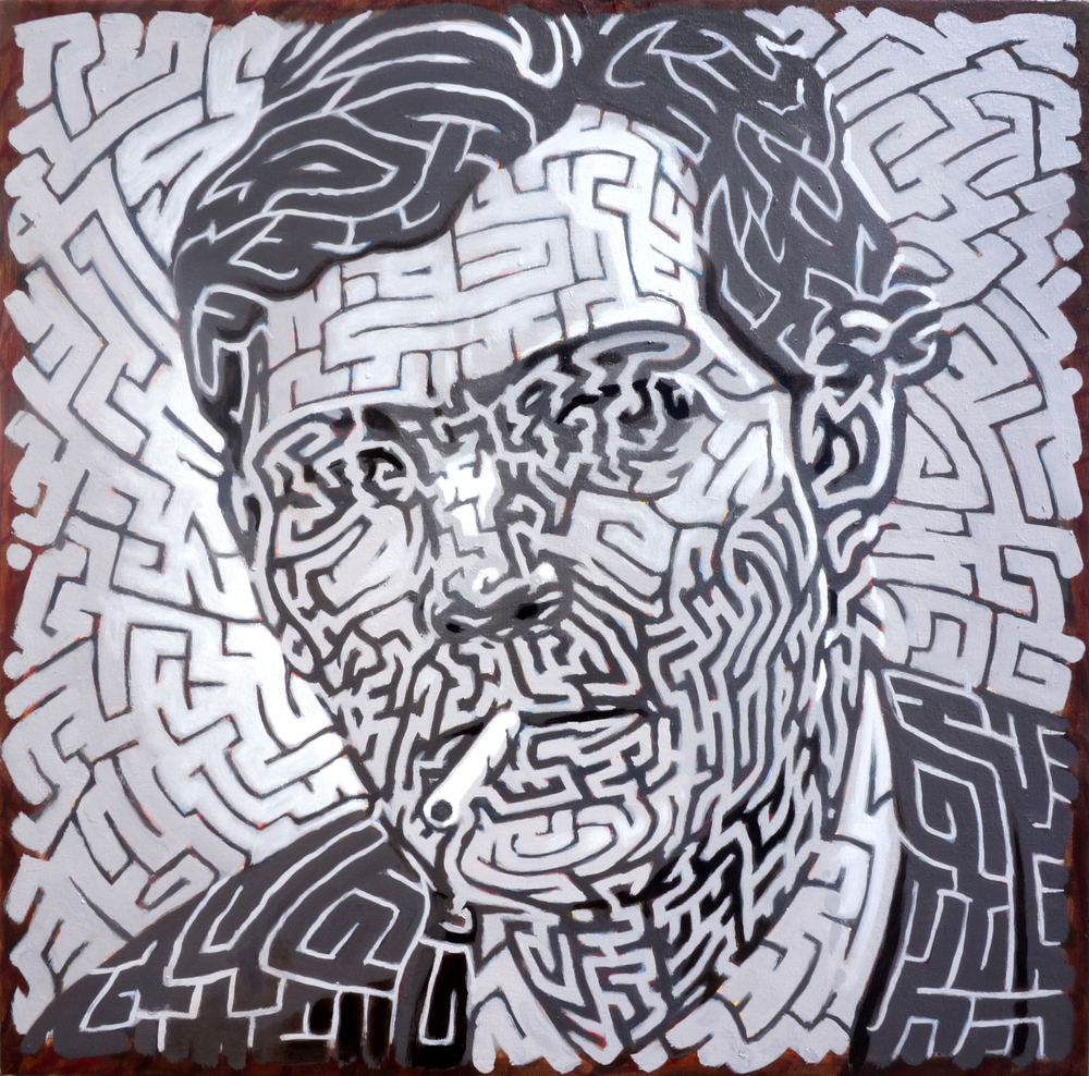 Julio Cortázar , 23.5 x 23.5 in  Oil on canvas. Available for purchase. (2015)
