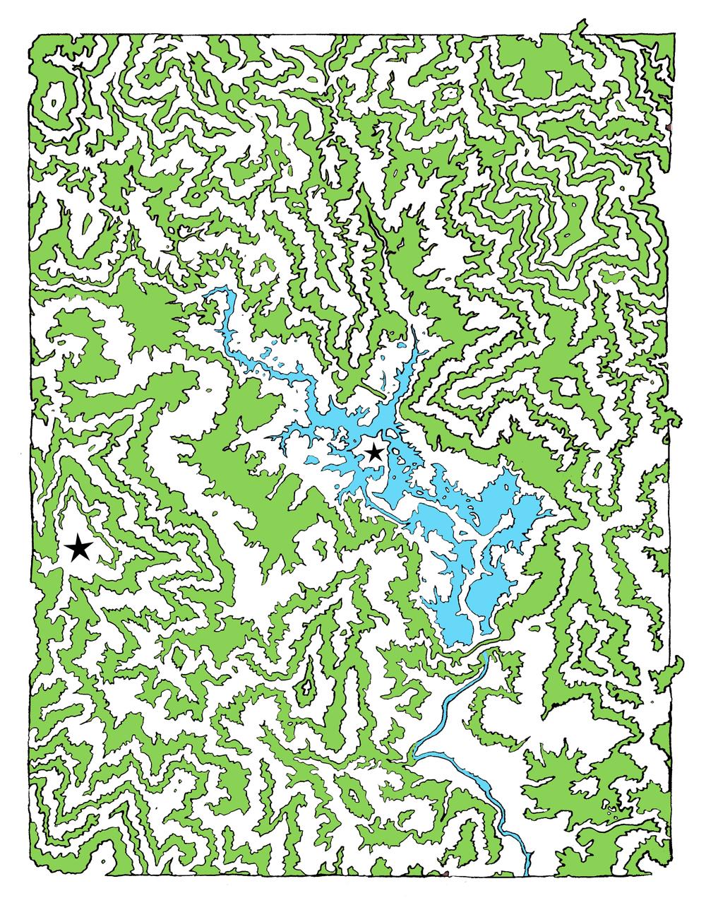 Whiskeytown Terrain Maze , digital drawing, dimension variable