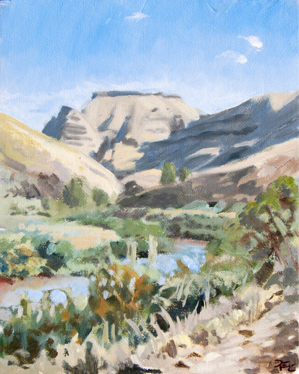 She-Who-Watches from John Day River,  10 x 8 in.  Oil on canvas. Private Collection. (2016)