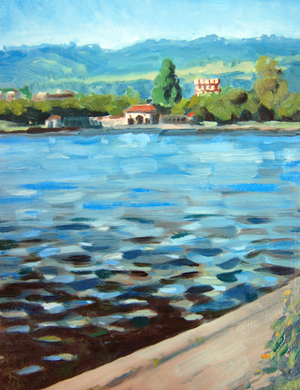 Lake Merritt Looking North , 10 x 8 in.  Oil on panel. Private collection. (2016)