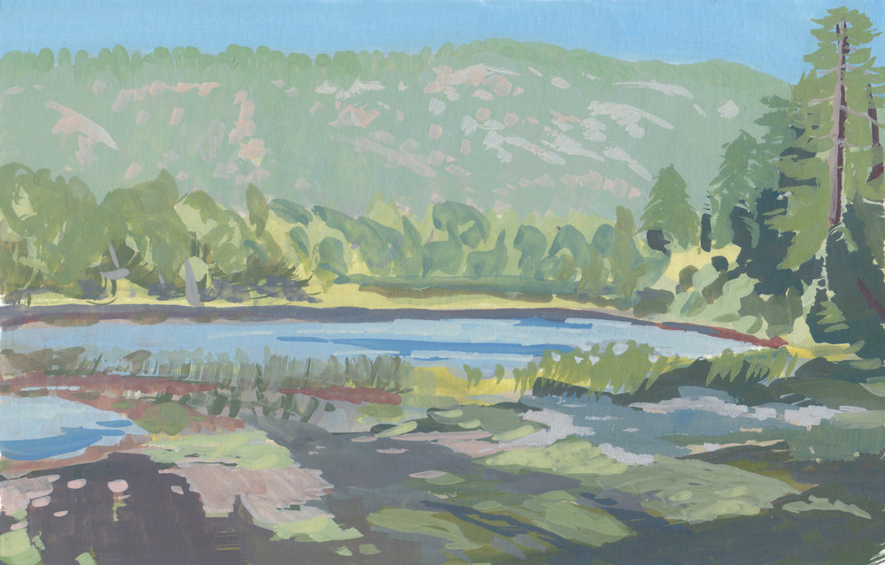 Jackson Lake II,  6 x 8 in.  Gouache on paper. Available for purchase. (2017)