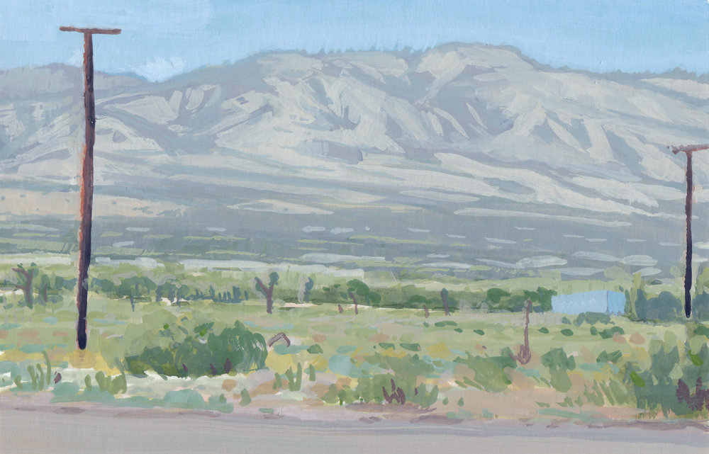 Phelon, CA,  6 x 8 in.  Gouache on paper. Available for purchase. (2017)