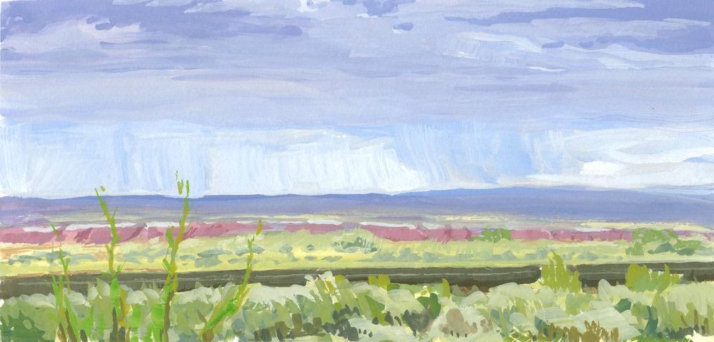 Monsoon over the Painted Desert,  6 x 12 in.  Gouache on paper. Private collection. (2017)