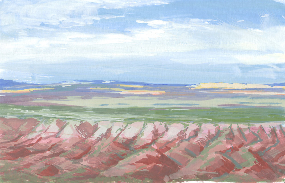 Petrified Forest, North Entrance,  6 x 8 in.  Gouache on paper. Available for purchase. (2017)