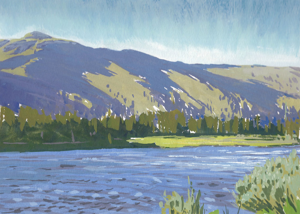 Little Highland Lake,  9 x 12 in.  Gouache on paper. Available for purchase. (2018)