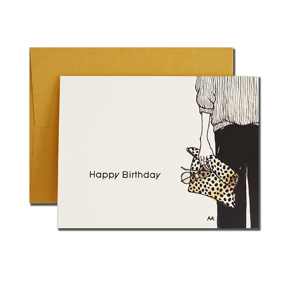Leopard Clutch Happy Birthday A2 Size Folded Card Gold Metallic Envelope