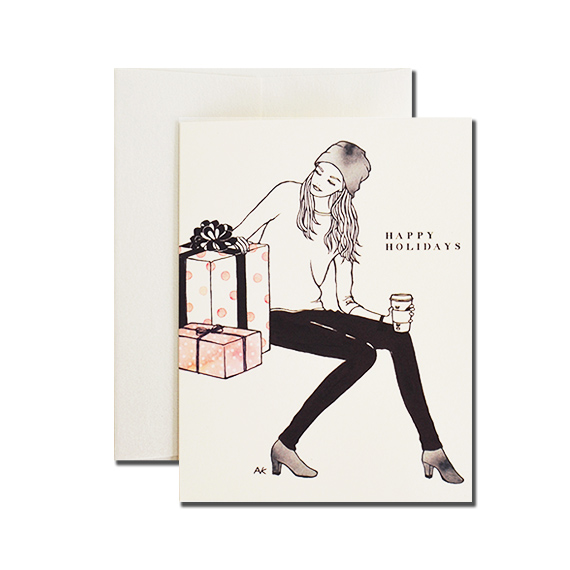 Woman with Gift Box Happy Holidays A2 Size Folded Card Quartz Metallic Envelope