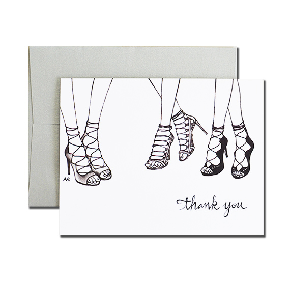 Woman Shoes Thank You  A2 Folded Card Silver Metallic Envelope