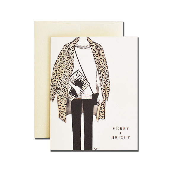Leopard Coat Merry Bright A2 Size Folded Card Ivory Metallic Envelope