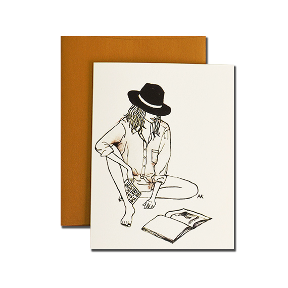 Woman in Hat A2 Size Folded Card Bronze Metallic Envelope