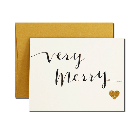 Very Merry Calligraphy A2 Size Folded Card Gold Metallic Envelope