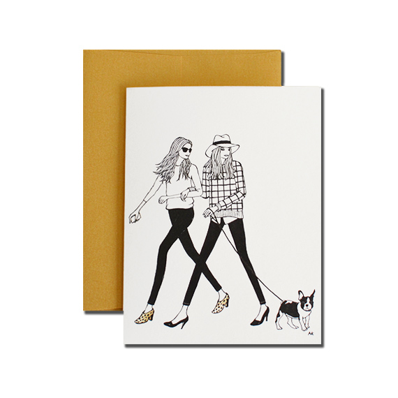 Girls with French Bulldog A2 Size Folded Card Gold Metalic Envelope