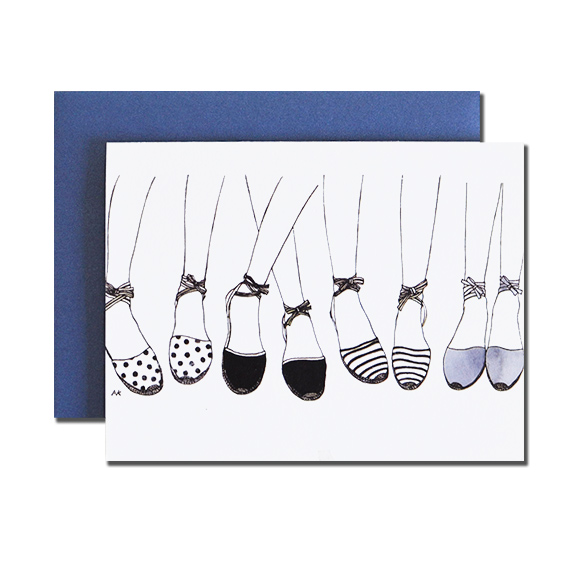 Espadrilles A2 Folded Card Sapphire Metalic Envelope