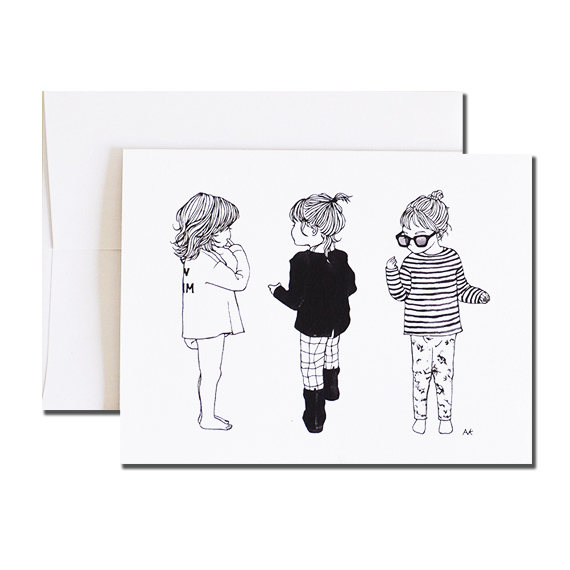 Baby Girl Illustration A2 Size Folded Card Crystal Metallic Envelope