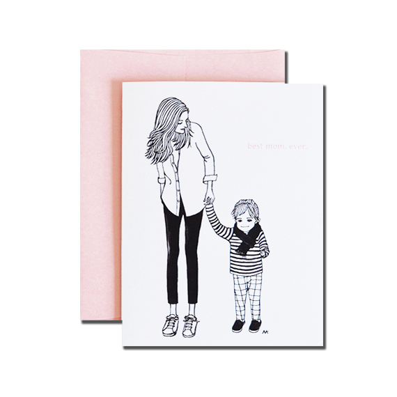 Best Mom Ever Mother's Day A2 Size Folded Card Pink Metallic Envelope