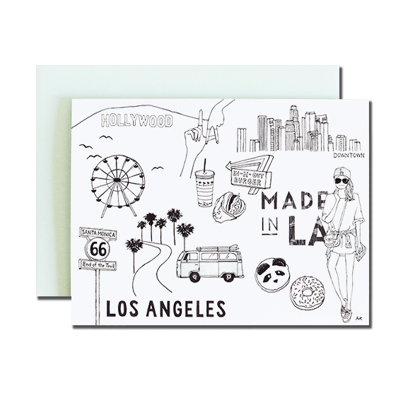 Los Angeles A2 Size Folded Card Aqua Metallic Envelope