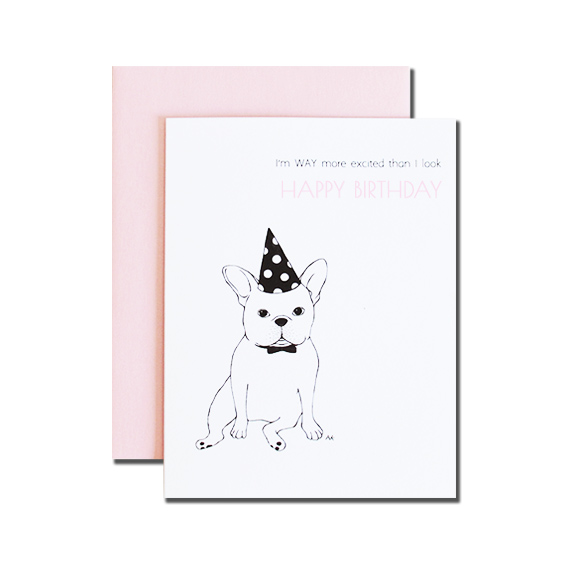 French Bulldog Birthday A2 Size Folded Card Pink Metallic Envelope