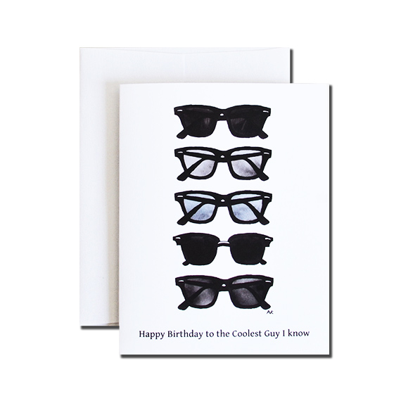 Coolest Guy Birthday A2 Size Folded Card Crystal Metallic Envelope